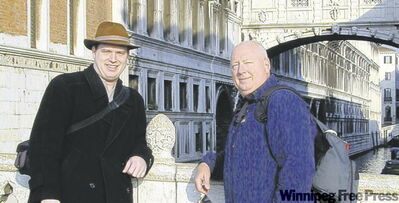 Tuba proponents J.C. (left) and Chip Sherman during trip to Venice.