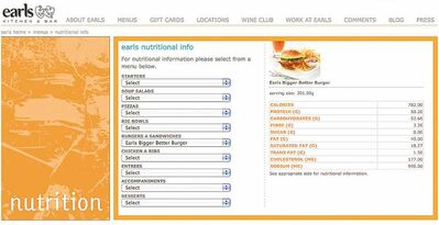 Earls restaurant has posted nutritional information on its website.