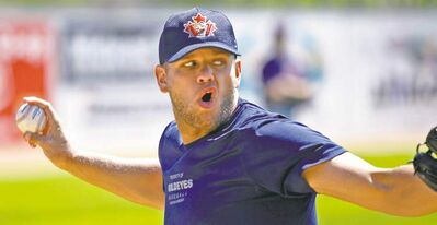 Goldeyes pitcher  Nick Carr lets fly at a workout at Shaw Park  on Thursday.