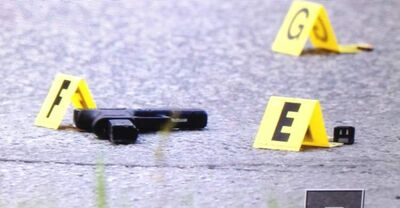 A handgun lying on the street near Stafford Street and Hector Avenue.