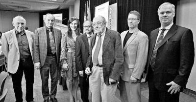 KEN GIGLIOTTI / WINNIPEG FREE PRESSManning Award nominees and past winners (from left) nominee Dr. Magdy Younes, winner Dr. Werner Ens, nominees Christina Laham Paganelli and Dr. Pradip Maiti, winner Dr. Ken Standing, nominee Kerry Green and awards founder David Mitchell.