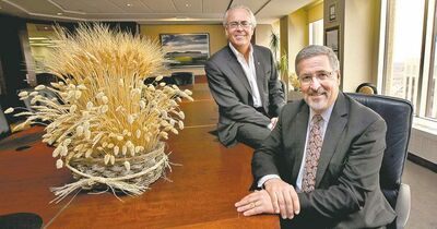 Phil Hossack / Winnipeg Free PressHartley Richardson and Curt Vossen at Richardson International, which has become one of two top Prairie grain handlers with the purchase of former Viterra assets.