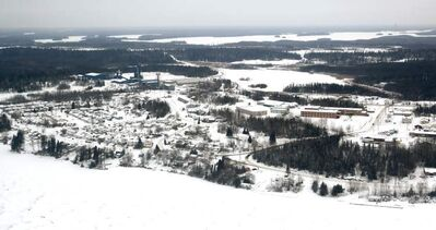 An aerial view of the town of Snow Lake in northern Manitoba. It's about 700 kilometres northwest of Winnipeg.