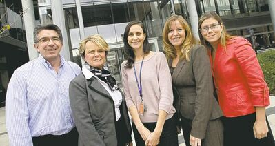 MIKE DEAL / WINNIPEG FREE PRESS Project Search's Oly Backstrom (left), Darlene Hedgecock, Meaghan Jones, Kim Lanyon, Erin Polcyn Sailer.