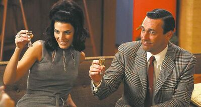 AMCJon Hamm and his TV wife Jessica Par�� on Mad Men, which begins its sixth season on Sunday.