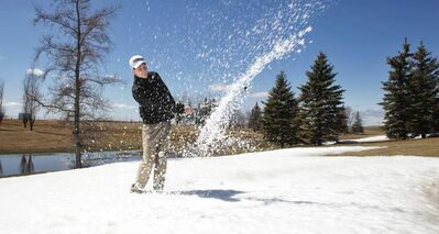 The fairways were swampy, the rough worse and often covered in snow and the greens impossible to read, but Evan Cloutier and hundreds of others took to the John Blumberg Golf Course Friday for their first golf game of the season.