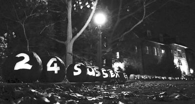 Pumpkins line the driveway at 24 Sussex Drive in Ottawa last Halloween.