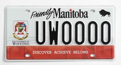 New University of Winnipeg licence plates.