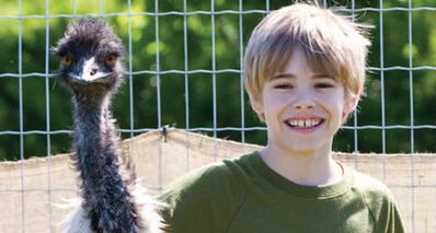 Liam Martin has fun with an emu at Assiniboine Park Zoo.
