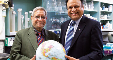 Drs. Naranjan Dhalla (left) and Pawan Singal are two of the many top-flight researchers who have been drawn to Manitoba.