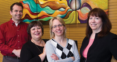 From left: Elliott Drewniak, CRC Clinical Team Lead; Carolyn Strutt, Regional Director of Adult Mental Health; Heather Forrest, CRC Manager; Nancy Parker, Director of Adult Community Mental Health – Crisis Services.