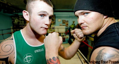 Winnipeg's Andrew Gardiner (left) and Ireland's (Hurricane) Dennis Hogan will square off at the St. Paddy's Day Punch-Up Thursday at the Marlborough Hotel.