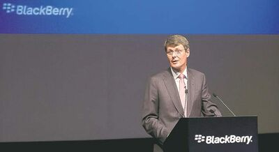 BlackBerry CEO Thorsten Heins speaks during the annual and special meeting in Waterloo, Ont.