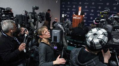 Winnipeg Jets General Manager Kevin Cheveldayoff talks to the media about his decision to fire Head Coach Claude Noel and hire Paul Maurice as the new head coach.  140112 - January 12, 2014 MIKE DEAL / WINNIPEG FREE PRESS