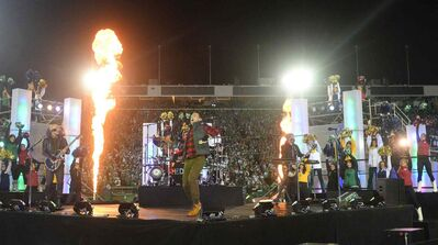Hedley performs during the half time show at the 101st Grey Cup last year in Regina.