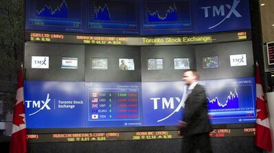 The TMX centre's display board in Toronto on May 16, 2011. THE CANADIAN PRESS/Frank Gunn