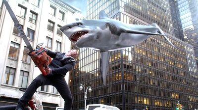 Ian Ziering as Fin Shepard in Sharknado 2: The Second One.