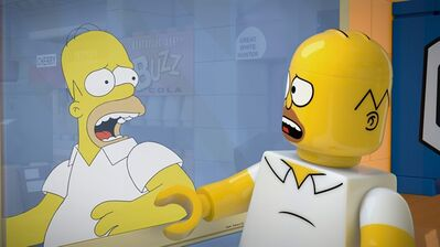 """This image released by FOX shows character Homer Simpson, from the animated series, """"The Simpsons,"""" as a Lego figure in episode No. 550, titled, """"Brick Like Me,"""" airing Sunday. Using computer-generated special effects, the town of Springfield and its residents have been reimagined in the style of the famed plastic toys. (AP Photo/Fox)"""