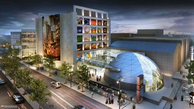 An artist's conception of what the museum complex will look like a decade from now; a new building focusing on science and technology is planned for the parking lot on Rupert Avenue north of the current building.