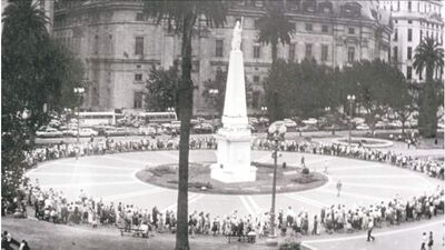 Mothers of Plaza de Mayo, Buenos Aires, Argentina. Inset, Monica Mignone.