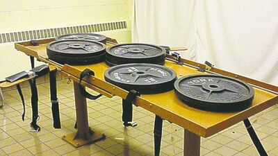 ohio department of rehabilitation and  corrections / The Associated PressA photo shows 540 pounds of weights placed on the execution table at the Southern Ohio Correctional Facility in Lucasville, Ohio.