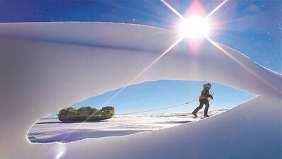 Crossing The Ice documents pair's trek to the South Pole.