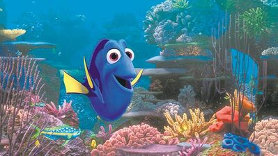 "This film image released by Disney Pixar shows the character Dory, voiced by Ellen DeGeneres. The character, first introduced in ""Finding Nemo,"" returns for the sequel, ""Finding Dory,"" set for release on Nov. 25, 2015."