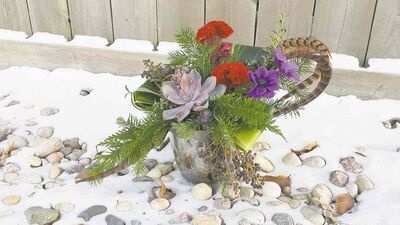 This holiday ensemble, meant only for the indoors, includes a succulent rosette, annual Celosia, seasonal greens and pheasant feathers. Exotic feathers to choose from include emu and ostrich.