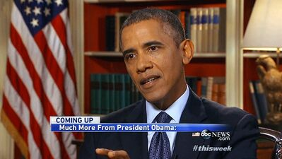 "In this image from video pretaped at the White House in Washington Friday, Sept. 13, 2013, for Sunday morning's ABC's ""This Week"" President Barack Obama answers questions about Syria, and other pressing national and international issues during an interview with George Stephanopoulos. Trying to lay claim to an economic turnaround, Obama acknowledged that despite progress, middle and low-income Americans have not benefited as much as the top 1 percent in the country. ""We came in, stabilized the situation,"" citing 42 months in a row of growth, 7 1/2 million jobs created and a revitalized auto industry. He said that when it comes to a crucial deadline to raise the nation's borrowing limit next month, he would not negotiate with Republicans. (AP Photo/ABC News)"