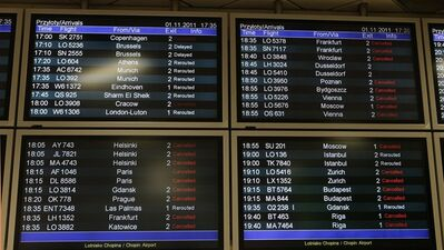 Information boards as flights were cancelled after a Boeing 767 of Polish LOT airlines made an emergency landing in Warsaw at the Chopin airport , Poland, Tuesday, Nov. 1, 2011. (AP Photo/Czarek Sokolowski)