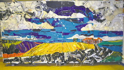 Winnipeg Prairie Sky, a mural constructed entirely of used hockey equipment, hangs on the east wall of the MTS Iceplex. It was presented to the venue by Art City.