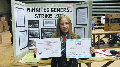 Adi Groumoutis, 11, entered her award-winning heritage fair project into a national contest to contend for a seat at Canada's History Youth Forum.