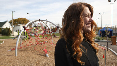 Olympic athlete Hughes stands in Elmwood's newly renamed Clara Hughes Recreation Park.