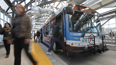 Winnipeggers use the new rapid transit route that opened up Sunday April 8, 2012.