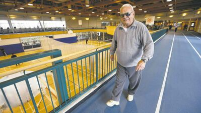 Nick Diakiw, 82, walks the track at the Wellness Centre Friday. He says a long life is fine, if quality of life is maintained.