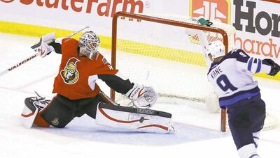 Jets forward Evander Kane got some glorious looks, but Senators goalie Robin Lehner was up to the challenge.