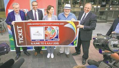The FIFA Women's World Cup Canada 2015 delegation visits city hall on Wednesday afternoon. From left, Mustapha Fahmy, director of competitions FIFA,  Peter Montopoli, chief executive officer, national organising committee, Tatjana Haenni, deputy director of competitions for women�s football FIFA, Grant Nordman, city councillor, Ron Lemieux, Manitoba Minister for Local Government.