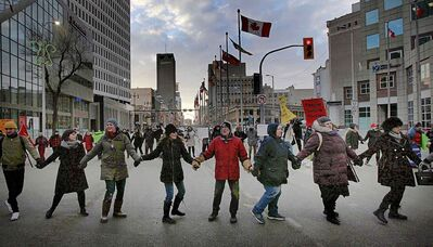 Protestors stopped traffic with a round dance at Portage and Main in Winnipeg in January 2019. (PHIL HOSSACK / WINNIPEG FREE PRESS FILES)