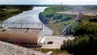 The Manitoba Hydro Grand Rapids Generating Station at Grand Rapids, Man.