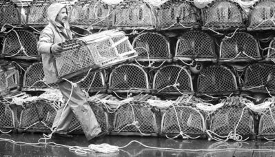 A lobster fisherman carries a trap at the North Rustico, P.E.I. warf.
