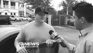 Miami Dolphin lineman Richie Incognito is interviewed near his home on Nov. 4.