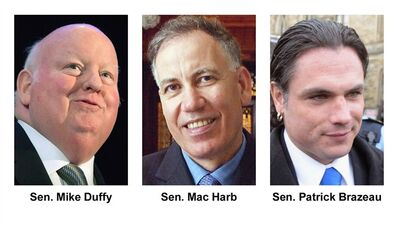 Senators Mike Duffy, Mac Harb and Patrick Brazeau, are pictured. THE CANADIAN PRESS/Files