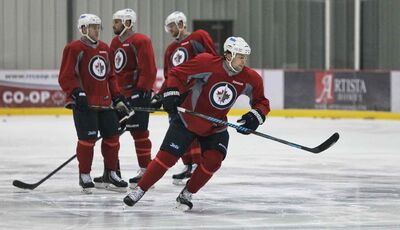 Winnipeg Jets' Mark Stuart (5) during practice at the MTS IcePlex Wednesday morning.