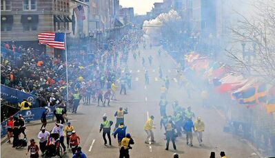 The scene at the Boston Marathon finish line when two homemade bombs detonated on April 15.