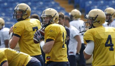 At Blue Bomber training camp, from left: starting QB Buck Pierce, No. 4;  and QBs vying for the backup job,  No. 14 Joey Elliott  and No.7 Alex Brink.