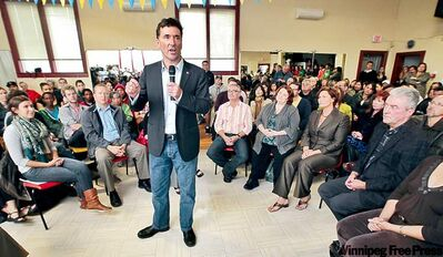 Federal NDP leadership candidate Paul Dewar makes his pitch at the Filipino Senior Citizens Hall on Thursday.
