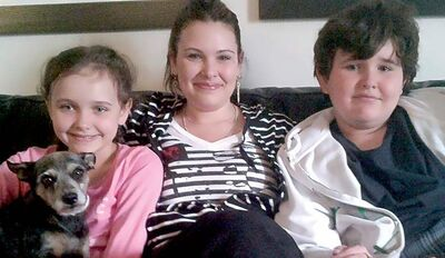 Emily Cablek with her children, Abby and Dominic Maryk.