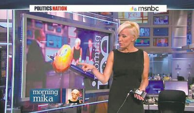 MSNBC's Mika Brzezinski favours the sleeveless on air 'uniform.'