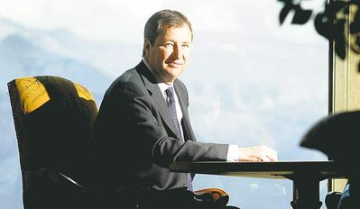 David Robert, regional vice-president and general manager of the Alberta Fairmont Hotels, reclines in the Rundle Lounge at the Banff Springs.