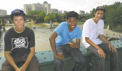 Josh Thorvaldson (from left), host Jordan Francis and Brayden Slezak at The Forks.